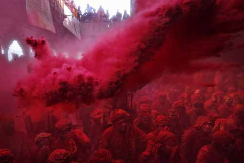 Lath Maar Holi in Barsana is renowned for its vibrant Red color